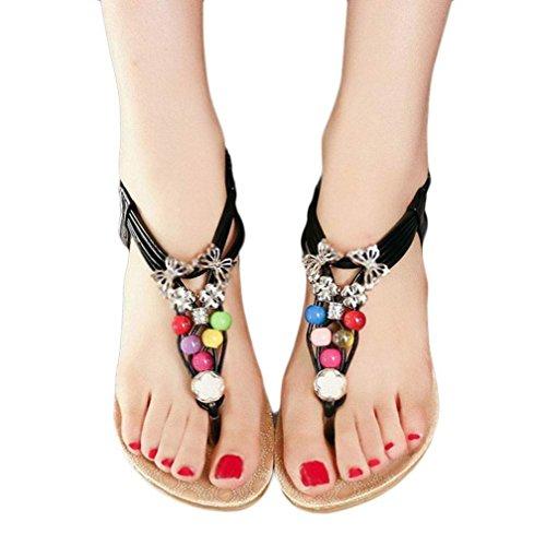Sandali,Ouneed® Donna Sexy Girls Estate Scarpe sandali punta della clip sandali della spiaggia Dei Sandali Pantofole Boemia Fiore Tallone Scarpe Flip Flop (Nero, 40)
