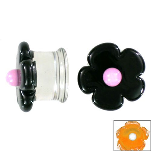 Amber Cherry Blossom with White Center Handmade Glass Plugs - Double Flare - 1/2