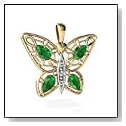 14K Yellow Gold Pear Emerald Butterfly Pendant