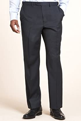 Sartorial Wool Rich Flat Front Self Stripe Trousers With Cashmere