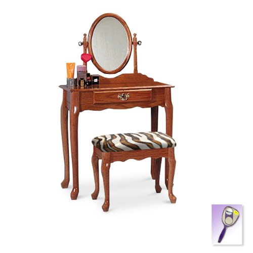 New Oak Finish Queen Anne Make Up Vanity Table With Mirror & Brown & White Zebra Faux Fur Themed Bench