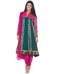 Anahi Cotton Embellished Yoke Anarkali Set Green Anarkali Set