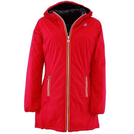 K003X10F70 K-way piumino lungo donna reversibile rosso - antracite Rosso 5 XL