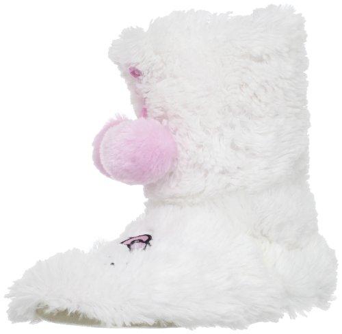 Hello Kitty Girls 7-16 Shaggy Pom Pom Slipper, White, Medium front-897965