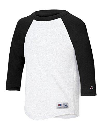Champion - Top - Maniche a 3/4 - Bambino Multicolore bianco/nero XL