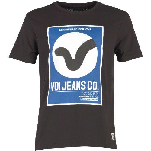 Schwarz/Blau/Weiß Voi Jeans Herren Dunster T-Shirt Schwarz - L To Fit Chest 38-40 Euro Large