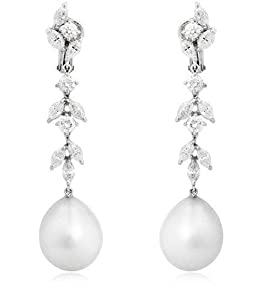 Diamond & Pearl 18k White Gold Dangle Earrings