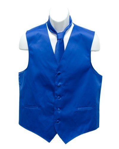 Fine Brand Shop Men's Blue Solid Jacquard Suit Vest and Neck Tie Set - XXXX-Large