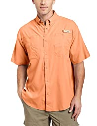 Columbia Men\'s Tamiami II Short Sleeve Shirt, Bright Peach, Medium