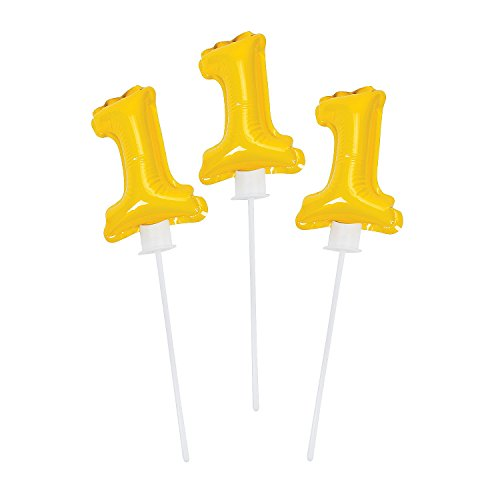 "1st Birthday Yellow Self-inflating Mylar Balloons (6 Pcs. Per Unit.) 6"" X 4"" with 8"" Plastic Stick."