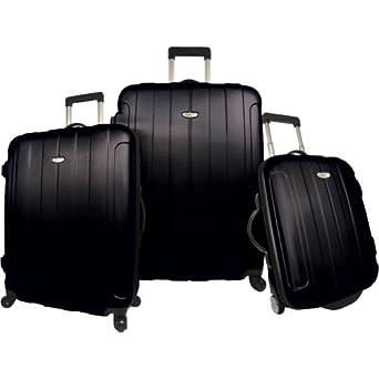 Traveler's Choice Rome 3-Piece Hardshell Spinner/Rolling Luggage Set (Black)