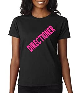 One Direction Directioner 1D T-Shirt Black Hot Pink Letters Junior Tween Teen Size Small or Medium
