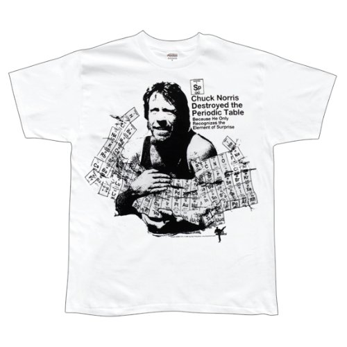Chuck Norris Periodic Table Element Of Suprise T-Shirt (Small) White