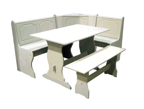 tms 3 piece nook dining set antique white a white breakfast nook table ...