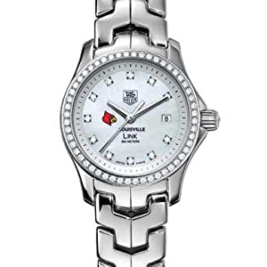 University of Louisville Women's TAG Heuer Link Watch with Mother of Pearl Diamond Dial and Diamond Bezel