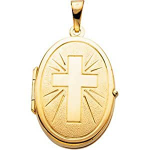 IceCarats® Designer Jewelry 14K Yellow Gold Oval Locket With Cross 22.00X17.00 Mm