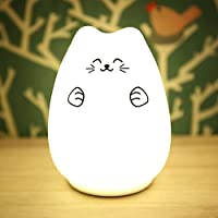 Seacat LED Night Light Cute Kitty Silicone Bedroom Light Multicolor USB Chargeable Light Lamp Sensitive Tap Control Warm White and 7 Color Breathing Dual Modes Full Charge Can Use 15 Hours from Seacat