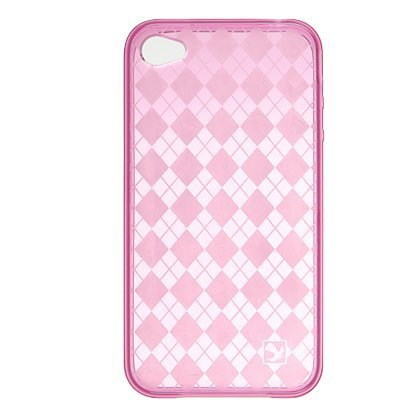 Premium TPU Flexi Argyle Gel Skin for Apple iPhone4, 4th Generation, 4th Gen Flexible See Thru Skin, Hot Pink Checkers Plaid Print