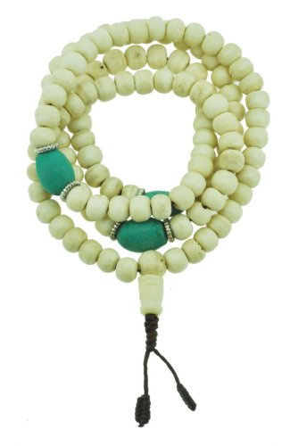 Tibetan 8mm Yak Bone Synthetic Turquoise 108 Prayer Beads Mala Necklace