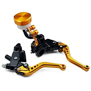 "1 Pair of gold CNC Front UNIVERSAL 7/8""(22mm) Motorcycle Aluminum Clutch Brake Master Cylinder Reservoir Levers Kit Set Fit For Yamaha YZF R1 1999-2001"
