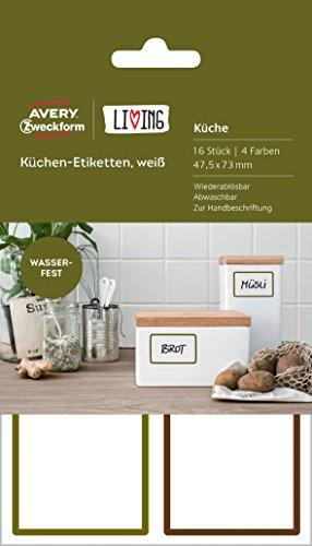 Avery Zweckform 62002 Living Küchen Etiketten, 47.5 x 73 mm, weiß
