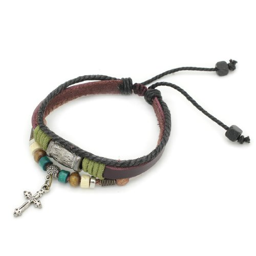 3-Strand Genuine Leather Adjustable Wristband / Bracelet with Rings & Cross