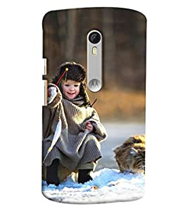 Blue Throat Girl In Ice Hunting Printed Designer Back Cover/ Case For Moto X Style