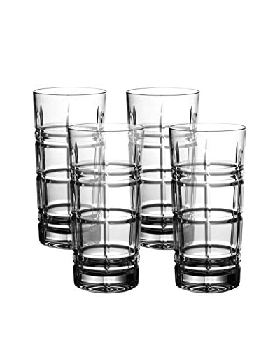 "Fitz and Floyd Plaid Crystal Hiball, Set Of 4, Clear, 3.3""D 5.9""H"