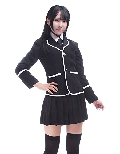[Nuotuo Womens British Style High School Uniform CC11A-M (M,Black)] (Preppy School Girl Costumes)