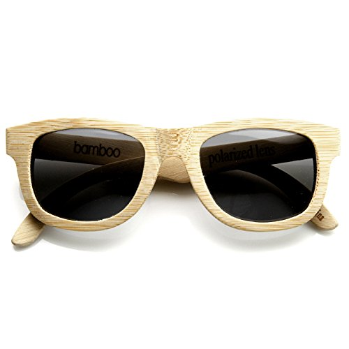 zeroUV - Polarized Genuine Bamboo Wood Horn Rimmed Sunglasses and Case (Bamboo / Smoke) (Real Horn Rimmed Glasses compare prices)