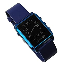 Bluetooth Smart Watchs for Women Smartwatch Waterproof for iphone Android Stainless Steel Genuine Leather Strap SmartPal G1 ( Blue )