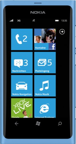 Nokia Lumia 800 Smartphone (9,4 cm (3.7 Zoll) AMOLED Clear Black-Touchscreen, Micro-SIM only, Windows Phone Mango OS, 8 MP Kamera) matt cyan