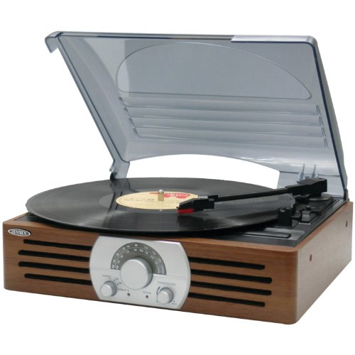 JENSEN JTA-222 3-Speed Stereo Turntable with AM/FM Stereo Ra