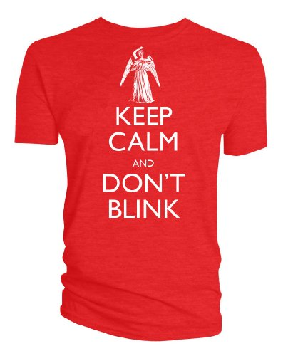Doctor-Who-Keep-Calm-para-hombre-con-efecto-de-goteo-en-Don-t-Blink-diseo-de-ngel-de-T-camiseta-de-manga-corta