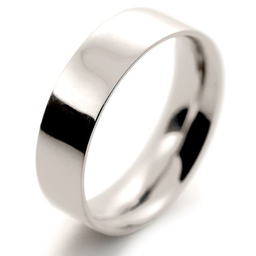 18ct White Gold Wedding Ring Medium Heavy Flat Court - 6mm