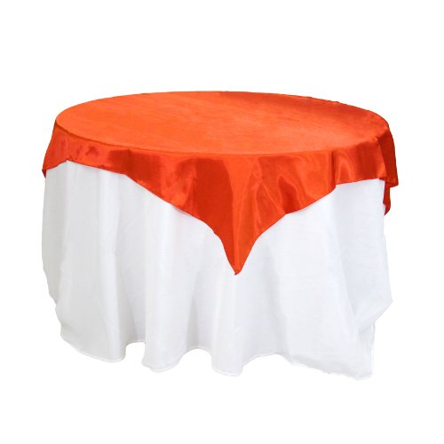 Koyal Wholesale Square Satin Overlay Table Cover, 90 By 90-Inch, Red front-48502