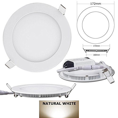 15W Round Dimmable Led Recessed Ceiling Panel Down Lights With Driver - Warm White 2700K-3200K(4 Pcs)