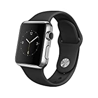 Apple Watch 38mm Stainless Steel Case w/ Black Sport Band