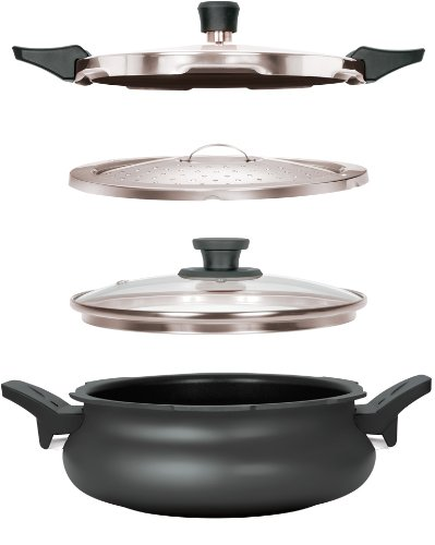 Pigeon Belita Hard Anodized Super Cooker Set, 3 Litres, 4-Pieces, Black (Pigeon Induction compare prices)