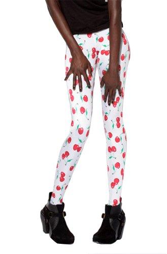 Women'S Fashion Digital Print Cherry Pattern Sexy Leggings(White)