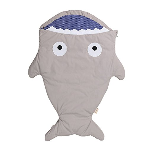 Review Baby Sleeping Bag Cute Cartoon Shark Strollers Bed Blanket Swaddle Winer Baby Sleep Sack (Gra...