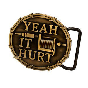 "Bronze Belt Buckle ""Yeah It Hurt"" All Caps Lettering Tattoo Machine Barbed Wire"
