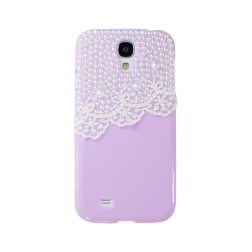 Ipremium Case® Pearl Series - Pearls On Pretty Lace Garter Samsung Galaxy S4 I9500 I9505 Case - Handmade Diy - Perfect Gift - Bling Bling Rhinestones - (Package Includes Extra Crystals & Screen Protector) (Taro Purple)