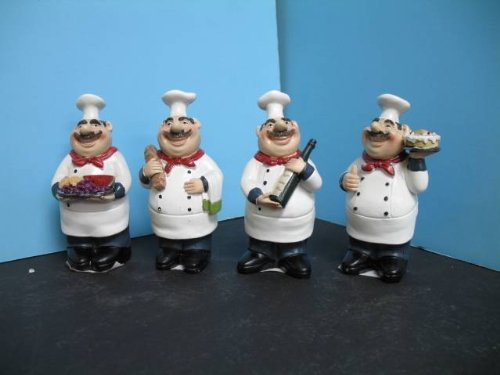 4 pcs Italian FAT Chef figurine BISTRO DECOR home NEW Bar Waiter Home set .
