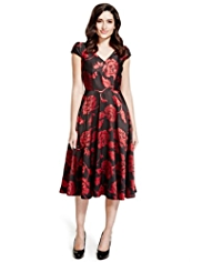 Per Una Rose Jacquard Fit & Flare Dress