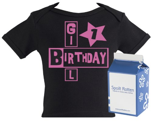Spoilt Rotten - PERSONALISED Number Birthday Girl Baby & Toddler Lap Slogan T-Shirt 100% Organic Sizes 4-5 years BLACK + in funky Milk Carton