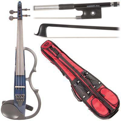 Yamaha Sv-130 Concert Select Silent Electric Blue 4/4 Violin Outfit Including A Johnson Artist Carbon Composite Bow & Yamaha Red Gig Bag