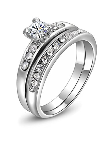 White Gold Plated Austrian Crystal Couple Ring Set With 2 Finger Rings Wa671 (8)