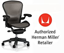 Hot Sale Herman Miller Aeron Chair Highly Adjustable with Lumbar Support Pad with Translucent H9 Hard Floor Casters - Large Size (C) Graphite Dark Frame, Classic Dark Lead Pellicle Mesh Home Office Desk Task Chair
