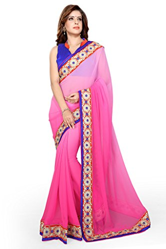 Sourbh Sarees Pink Chiffon Lace Work Saree for Women Party Wear